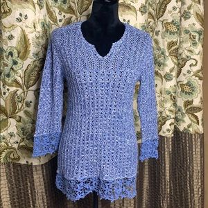 CHRISTOPHER& BANKS open weave sweater with lace
